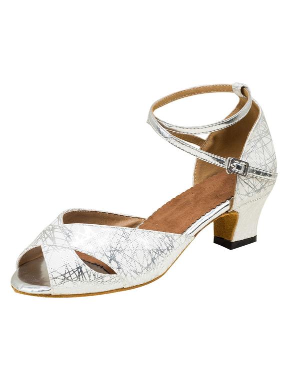 Zapatos de bailes latinos de PU plateados Tacón bobina para baile de punter Peep Toe 19pKxsvz8y
