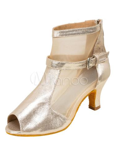 Zapatos de bailes latinos de PU Tacón bobina para baile de punter Peep Toe AazBMCS