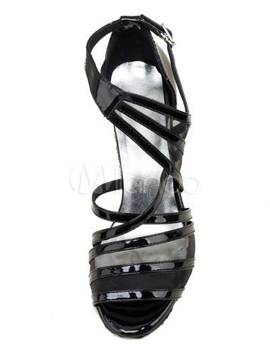 Zapatos de bailes latinos Charol PU negros Tacón bobina para baile de puntera abierta ZXoMtNlN