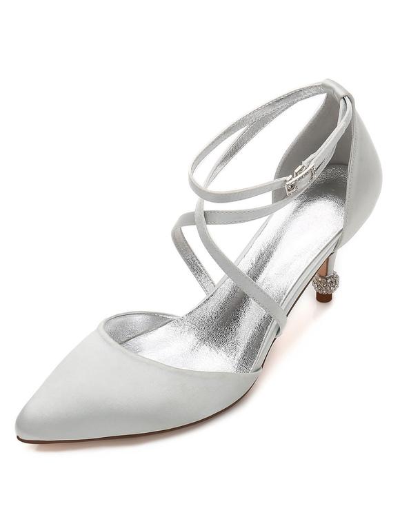 Zapatos de tacón de kitten de puntera puntiaguada de satén Románticos para boda FmRVqd6