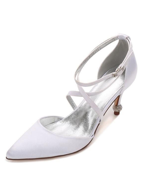 Zapatos de tacón de kitten de puntera puntiaguada de satén Románticos para boda 0DdNTYk