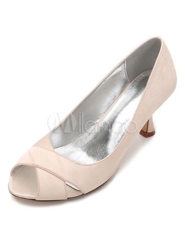 Zapatos de punter Peep Toe Tacón bobina de seda y satén elegantes para boda bc0PIDD