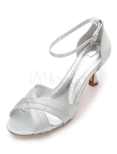 Zapatos Tacón bobina de puntera abierta de seda y satén elegantes Fiesta de bodas wDKYq