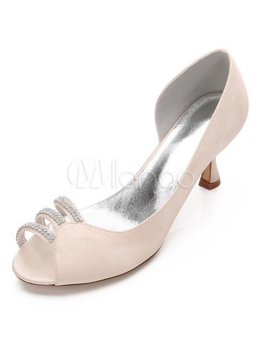 Zapatos de punter Peep Toe Tacón bobina de seda y satén elegantes para boda p4b0kzj