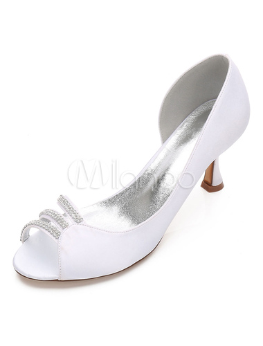 Zapatos Tacón bobina de punter Peep Toe de seda y satén elegantes Fiesta de bodas VX4J1