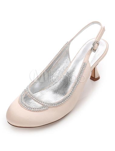 Zapatos de puntera redonda Tacón bobina de seda y satén elegantes Fiesta de bodas i4Y1x