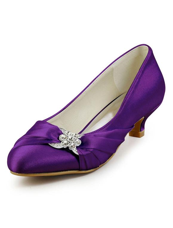 Zapatos de puntera redonda de tacón de kitten de seda sintética con cristal elegantes Fiesta de bodas xT08m