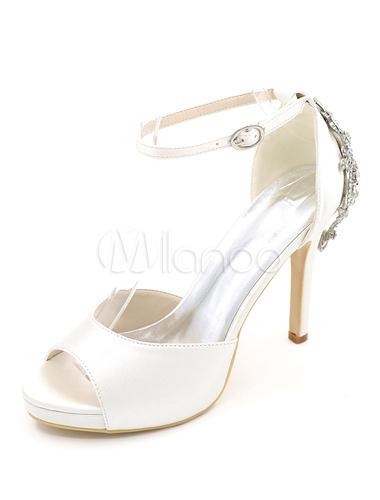 Zapatos de tacón de stiletto de punter Peep Toe de satén blancos elegantes para boda PQvLEL7