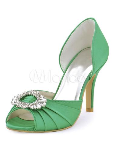 Zapatos de punter Peep Toe de tacón de stiletto de seda sintética con pedreríade lujo Fiesta de bodas lspVs6xM