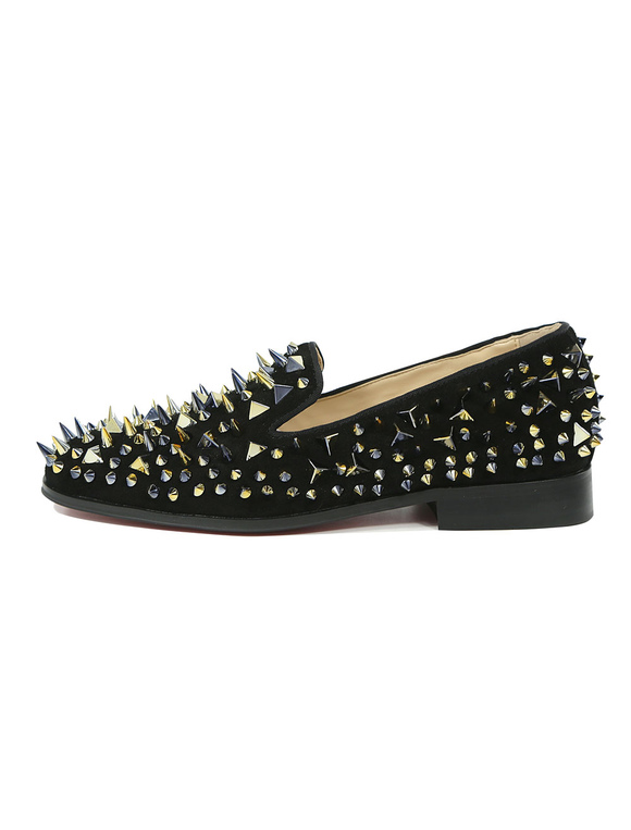 61f207b452b ... Black Prom Shoes Men Loafers Round Toe Leather Slip On Spike Shoes-No.2  ...