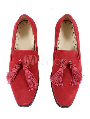 chaussure en cuir rouge artistique avec frange semelle caoutchouche. Black Bedroom Furniture Sets. Home Design Ideas