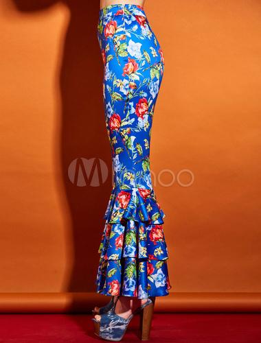2433d0e5c2 Pantaloni blu reali eleganti a strati stampa floreale in raso elastico,  imitazione seta, multistrati