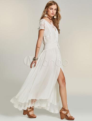 robe longue blanc en chiffon avec dentelle fendu et lacets. Black Bedroom Furniture Sets. Home Design Ideas