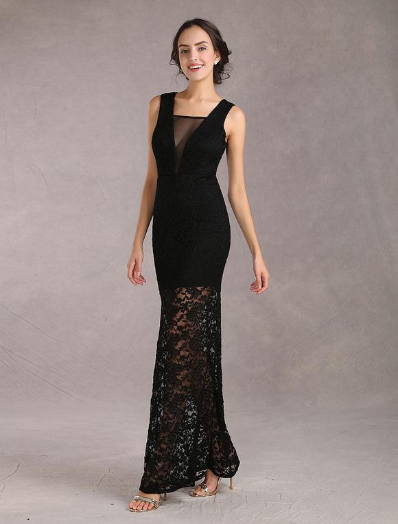 robe longue noir en dentelle unicolore moulant avec dentelle col v. Black Bedroom Furniture Sets. Home Design Ideas