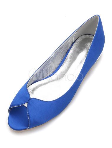 Zapatos Planos de punter Peep Toe de seda y satén elegantes Fiesta de bodas 1rVwrp