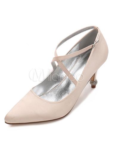 Zapatos de puntera puntiaguada de tacón de prisma de seda y satén con pedrería elegantes Fiesta de bodas iEnZOR