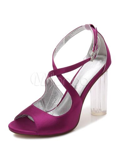 Zapatos de punter Peep Toe de tacón gordo de seda y satén elegantes para boda IJ6cn9Pxmq