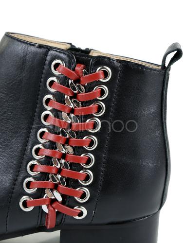neueste Art von größte Auswahl von 2019 neue angebote Schwarze Stiefeletten Männer runde Spitze flach schnüren sich oben zwei  Tone Leder Stiefel