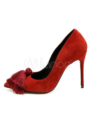 Zapatos de tacón de puntera puntiaguada de cuero auténtico rojos Color liso de tacón de stiletto Q3eTBVv7C