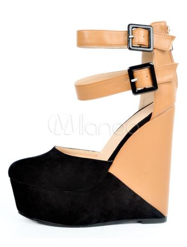 ad5aa31f8 ... Черная платформа обувь клин каблук круглый Toe два тона PU лодыжки  ремень Насосы для женщин- ...