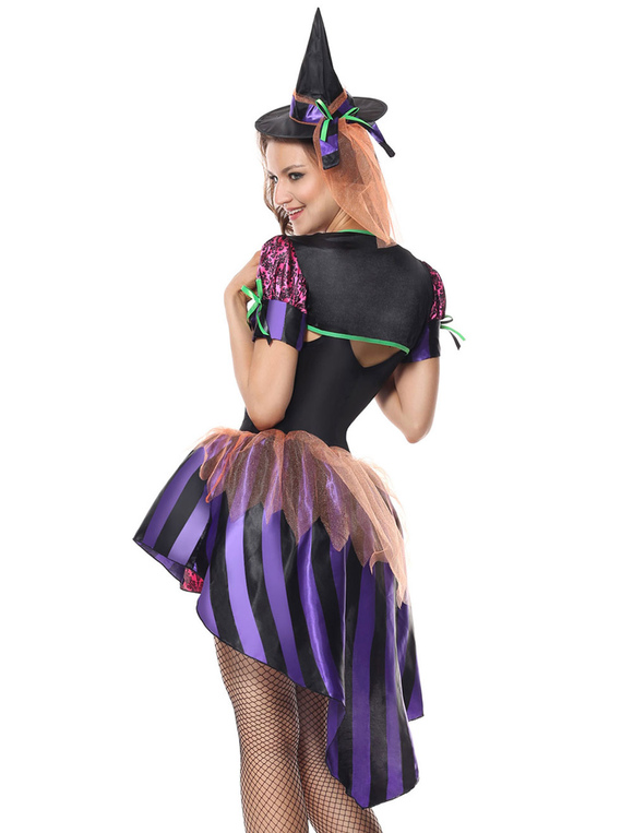 2d0f0ca38 Costume de sorcière d'Halloween femmes robes violettes et chapeau