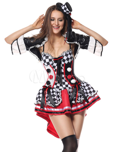 halloween kost m clown film schwarze frauen kurze kleider. Black Bedroom Furniture Sets. Home Design Ideas