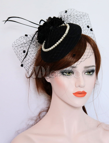 Black Fascinator Hat Wedding Tulle Feathers Pearls Royal Vintage Bridal  Accessories With Veil-No. 09f23726999