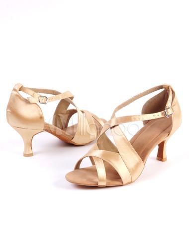 61b260de ... Zapatos de bailes latinos de satén dorados de tacón de kitten para baile  de puntera abierta ...
