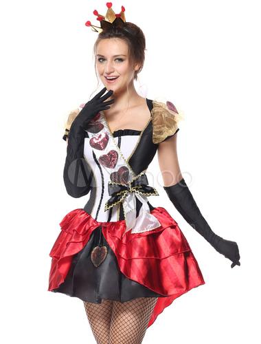Alice In Wonderland Halloween Costume The Queen Of Hearts Vestido Preto Com Luvas E Headpieces Para Mulheres