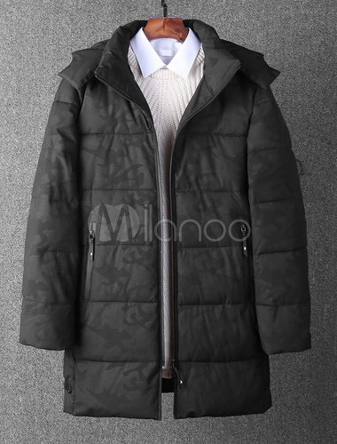 0487a91c9 Men Quilted Coat Hunter Green Puffer Coat Hooded Long Sleeve Oversized  Winter Coat