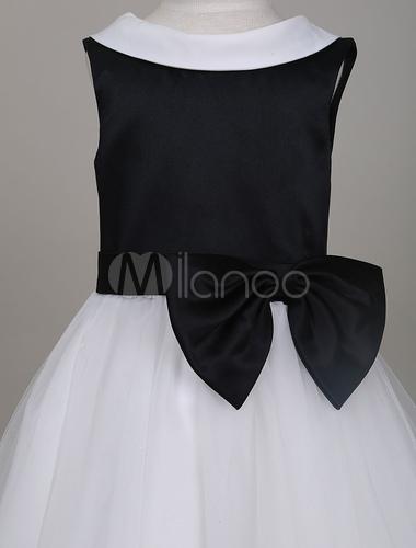92218b3a8a ... Flower Girl Dresses Dark Navy Tutu Dress Kids Round Neck V Back Bow  Short Formal Party