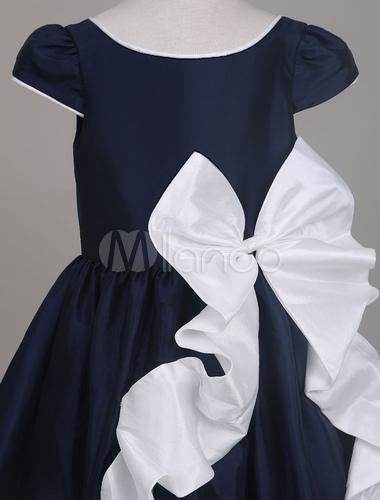 9ceb5bb75254 Vestidos de niña de las flores vestido de fiesta corto azul marino de la  arquería vestidos formales de los cabritos del tafetán