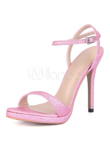 Sandalias para novias de puntera abierta de tacón de stiletto Sandalias Tela-brillantes con tirantes estilo moderno