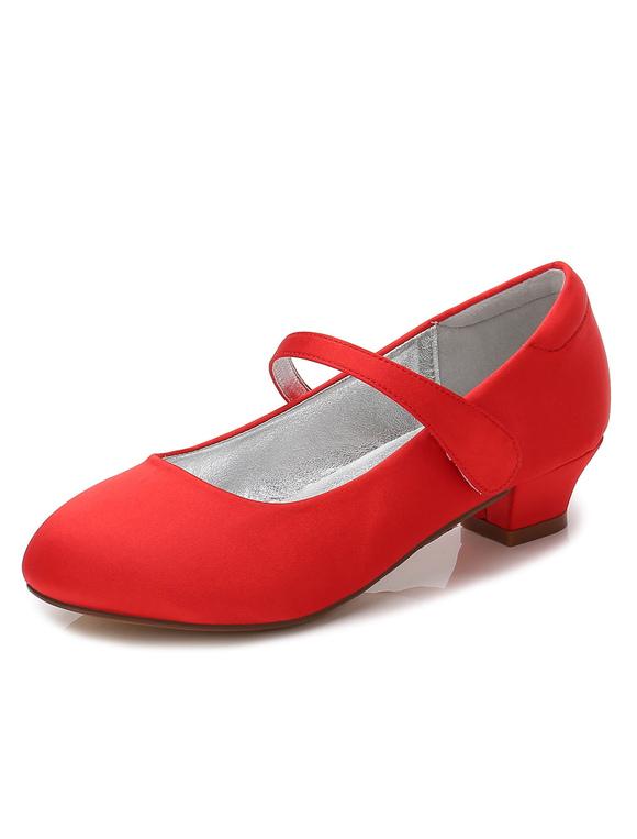 Zapatos de Florista de puntera redonda de tacón gordo 3cm con velcro para chica DWWkGQ