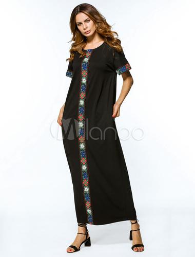 Black Abaya Dress Muslim Short Sleeve Ethnic Oversized Kaftan Dress