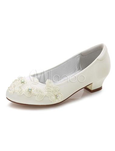 Zehe Blumen Pumps Blumenmädchen Runde Weiße Schuhe Heel Chunky doBWCxre