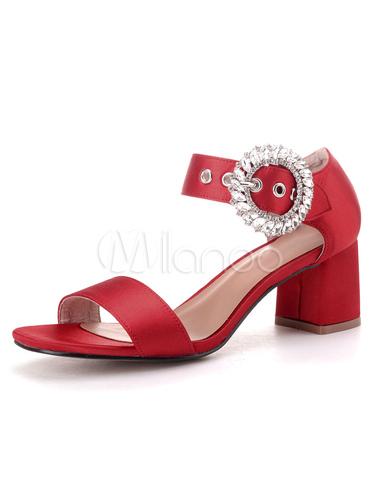 Sandalias de de moderno gordo de satén pedrería puntera novias estilo tacón para Sandalias con abierta rwXqzAgrU