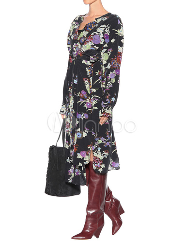 172442dc207 ... Women Wide Calf Boots Knee High Boots Burgundy Leather Pointed Toe High  Heel Boots-No
