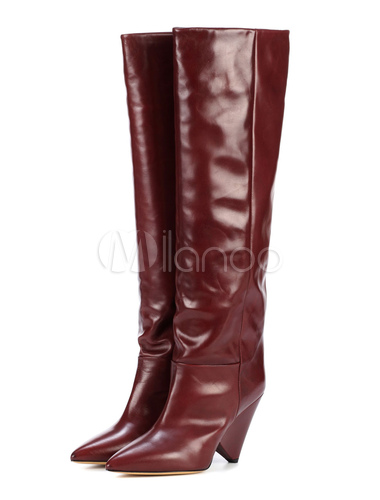 54041abfaa2 ... Women Wide Calf Boots Knee High Boots Burgundy Leather Pointed Toe High  Heel Boots-No ...