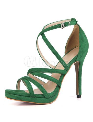 9a7a69799 Red Sandal Shoes High Heel Open Toe Stiletto Criss Cross Suede Women Sandals -No.