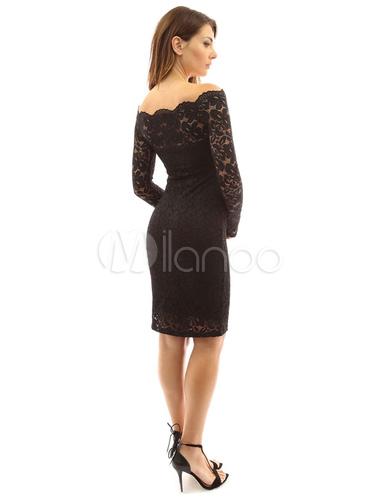 bec5a56aa185 Vestido ajustado de encaje negro manga larga fuera del hombro Vestido de  primavera de las mujeres