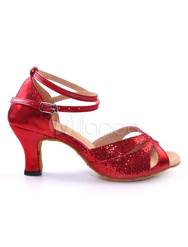 Zapatos de bailes latinos de punter Peep Toe Tacón bobina Tela-brillantes para baile WyKaBLHmn