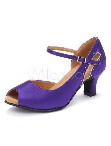 Zapatos de bailes latinos de satén con pedrería Tacón bobina para baile de punter Peep Toe hecD2BoQ