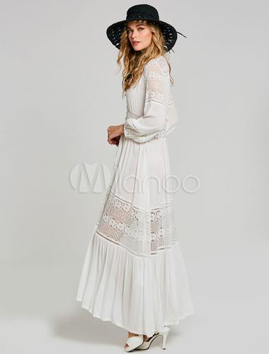 Mit Kleider Tljc1ufk3 In Spitzen Im Bohemian Weiß Style Maxikleid Boho IEWDH29Y