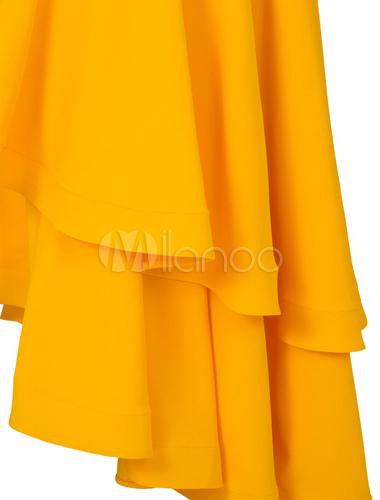 5b282e877 ... Vestido largo de chifón amarillo asimétrico Color liso con volantes con  manga corta elegante-No