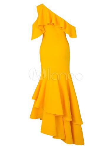 c2e13839a ... Vestido largo de chifón amarillo asimétrico Color liso con volantes con  manga corta elegante-No ...