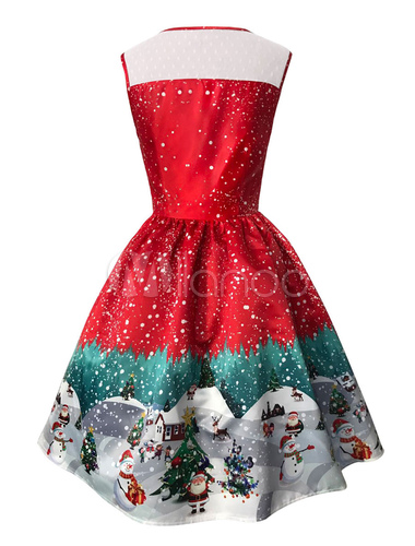 Christmas Dinner Dresses 2019.Christmas Party Dress 2019 Red Women Dress Vintage 1950s Illusion Neckline Swing Dresses