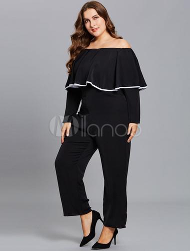 be7d2856cf9 Black Plus Size Jumpsuit Off The Shoulder Long Sleeve Ruffles Jumpsuits For  Women-No.