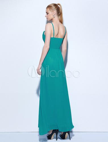 74a000b96aca ... Abito lungo Verde Mare in chiffon bretelle smanicato ricamato  monocolore Scollatura sulla schiena donna -No ...