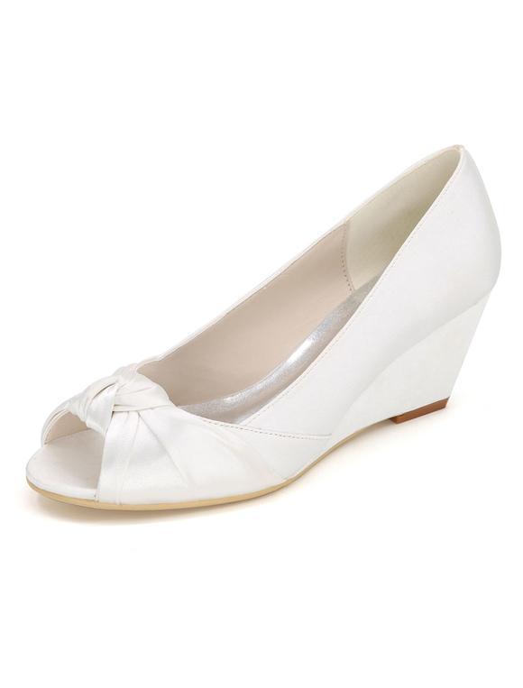 Zapatos de tacón de cuña de punter Peep Toe de satén elegantes de boda vMSLQxeY